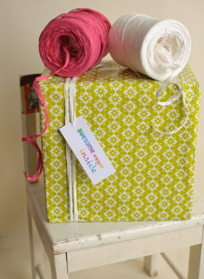 Green Folkflower Wrapping Paper and Gift Tag