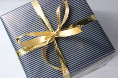 Gold and Navy Stripe Wrapping Paper with Gold Metallic Ribbon