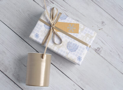 DB Stag Wrapping Paper with Satin Ribbon and Gift Tag
