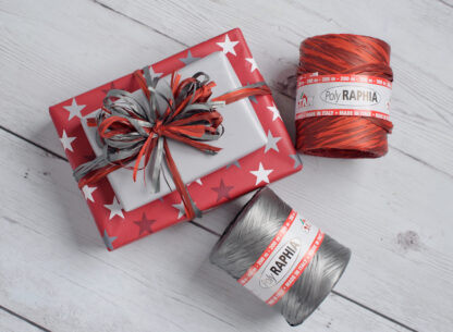 DB Stars Red Wrapping Paper and Raffia