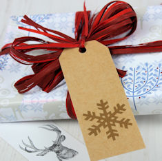 DB Stag Wrapping Paper with Raffia and Gift Tag