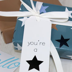 DB Stars Blue Wrapping Paper and Gift Tag