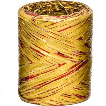 Gold + Red Bicolour Metallic Raffia