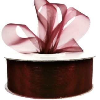 Burgundy Organza Ribbon 25mm