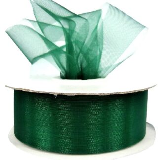 Hunter Green Organza Ribbon 25mm