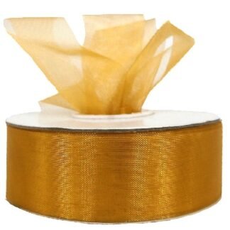 Gold Organza Ribbon 25mm