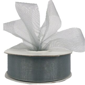 Silver Organza Ribbon 25mm