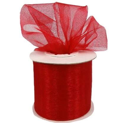 Red Organza Ribbon 50mm