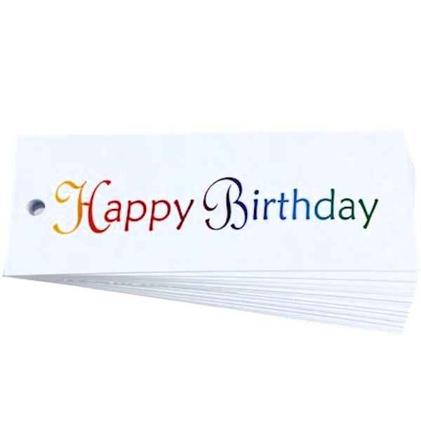 Happy Birthday Script White Gift Tag