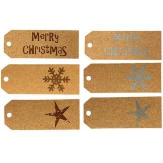 Christmas Metallic Mix Kraft Gift Tags