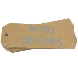 Silver Merry Christmas Gift Tag