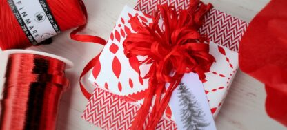 Paperflakes and Radar Wrapping Paper with Metallic Ribbon and Raffia