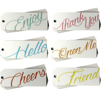 Script Mix White Gift Tags