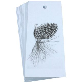 Pine Cone White Gift Tag