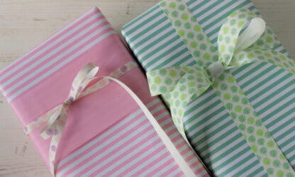 DB Pink 5 Stripe and DB Mint 5 Stripe Wrapping Paper
