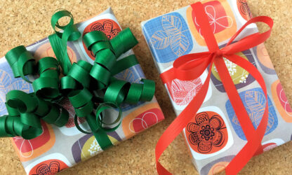 Retro Wrapping Paper and Emerald Ribbon