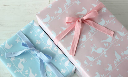 DB Baby Birds Wrapping Paper with Cotton Ribbon