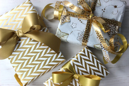 Gold Radar Wrapping Paper with Matte and Metallic Ribbon