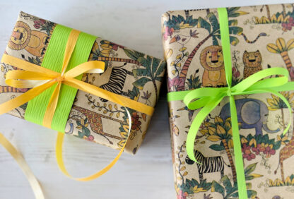 Coloured Jungle on Kraft Wrapping Paper with Matte Ribbons