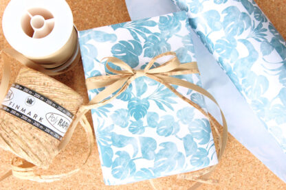 Matte Palms Wrapping Paper with Matte Ribbon and Cork Raffia