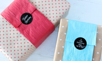Ribbed Dot and Tiny Hearts Wrapping Paper with Paper Bands and Stickers