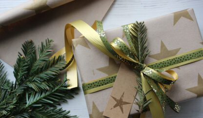Gold Star on Kraft Wrapping Paper with Matte and Metallic Ribbons