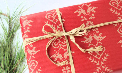 Ribbed Xmas Folk Wrapping Paper and Natural Raffia