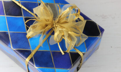 Blue Harlequin Wrapping Paper with Raffia and Organza
