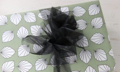 Matte Falling Leaves Wrapping Paper and Black Organza