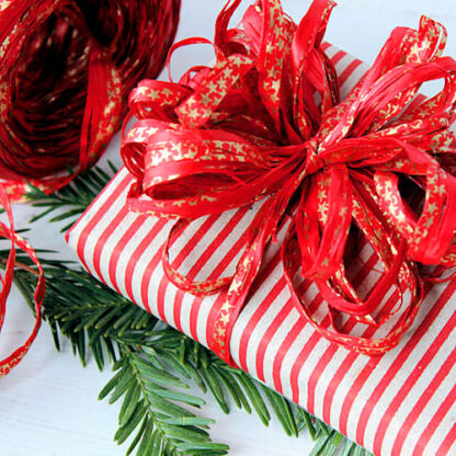 Red Stripes on Kraft Wrapping Paper with Red Star Raffia