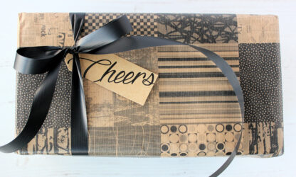 Ribbed Geo Square Wrapping Paper with Matte Ribbon and Tag