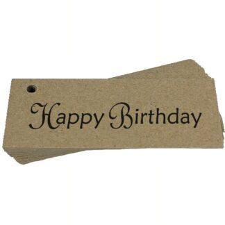 Happy Birthday Script Kraft Gift Tag