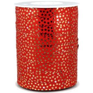 Red + Gold Stars Metallic Ribbon