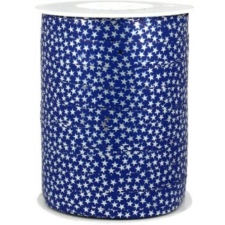 Blue + Silver Stars Metallic Ribbon