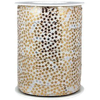 White + Gold Stars Metallic Ribbon