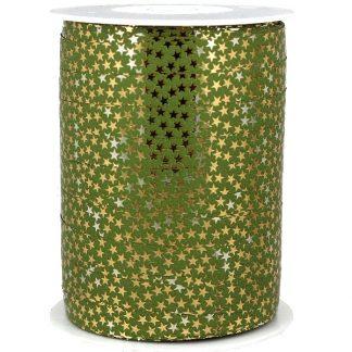 Green + Gold Stars Metallic Ribbon