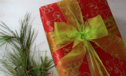 Christmas Drawings Wrapping Paper and Lime Organza