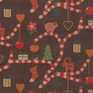 Ribbed Candy Cane Brown Kraft Wrapping paper 57cm x 200m