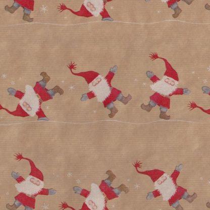 Ribbed Tumbling Santas Brown Kraft Wrapping Paper 57cm x 160m