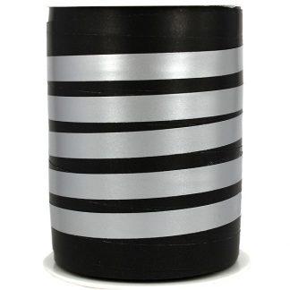 Black + Silver Bicolour Matte Ribbon 10mm