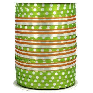 Green + Orange Dots & Stripes Ribbon