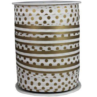 White + Gold Dots & Stripes Ribbon