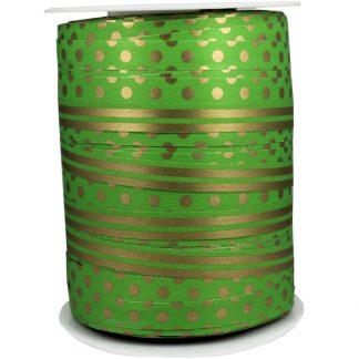 Green + Gold Dots & Stripes Ribbon