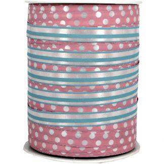 Pink + Blue Dots & Stripes Ribbon