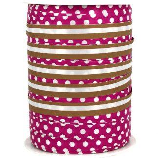 Hot Pink + Copper Dots & Stripes Ribbon