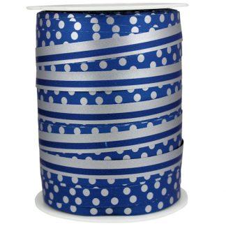 Blue + Silver Dots & Stripes Ribbon