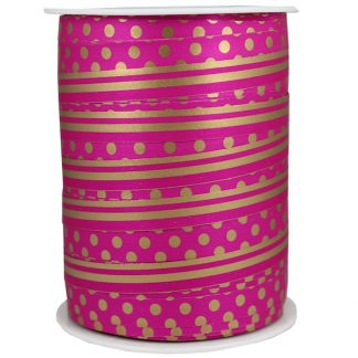Pink + Gold Dots & Stripes Ribbon