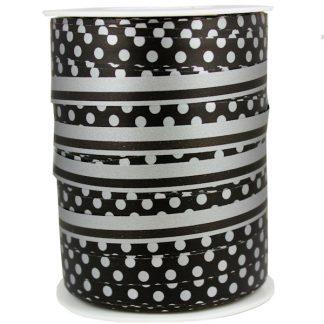 Black + Silver Dots & Stripes Ribbon