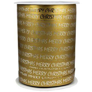 Gold Merry Christmas Metallic Ribbon