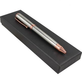 Silver and Rose Gold Ribbed Pen Boxed